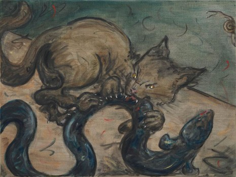 Tanya Merrill, Cat with eel and snail, 2019, Gagosian
