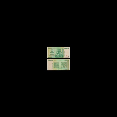Taryn Simon, Black Square XXI. The billion dollar bill was printed during Zimbabwe's political and economic crisis at the turn of the century, a period in which the value of the Zimbabwean dollar (ZWR) plummeted, leading to hyperinflation..., 2018, Gagosian