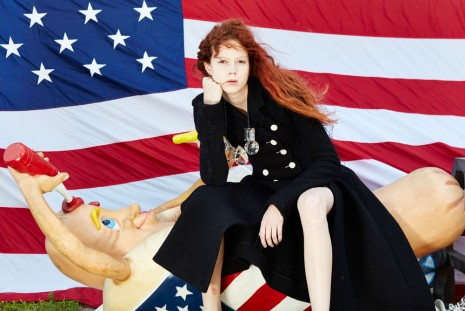 Roe Ethridge, Nathalie with Hot Dog and Flag, 2014 , Andrew Kreps Gallery