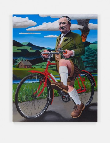 Merlin Carpenter, This Is What Happens When You Collaborate With Nazis: Professor Martin Heidegger Trying To Escape By Bike From The Approaching U.S. Army, Spring 1945, 2019 , Simon Lee Gallery
