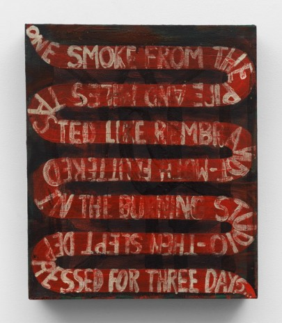 Chris Martin, One smoke from the pipe and Miles tasted like Rembrandt moth fluttered in the burning studio then slept depressed for three days..., 1989-1990, Anton Kern Gallery