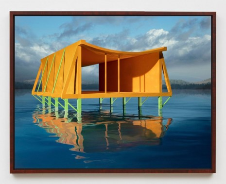 James Casebere, Orange House on Water, 2019, Sean Kelly
