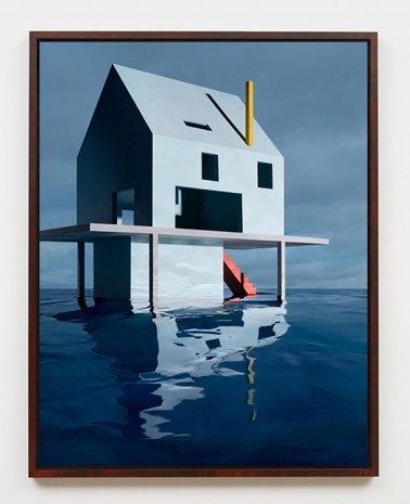 James Casebere, Blue House on Water #2, 2018, Sean Kelly