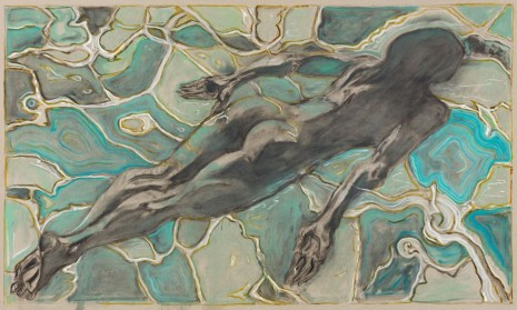 Billy Childish, swimmer under water, 2019 , Lehmann Maupin