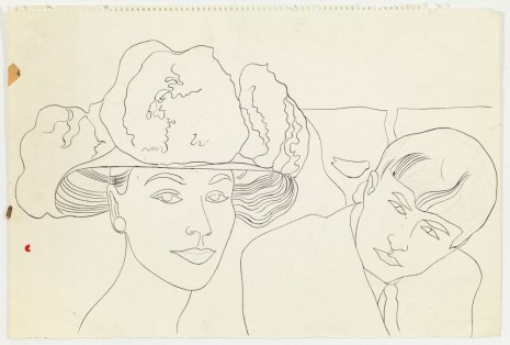 Andy Warhol, Female in Flowered Hat and Male Head, ca. 1957 , Anton Kern Gallery