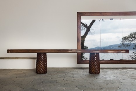 Casa Malaparte, ORIGINAL WALNUT AND PINE TABLE CONCEIVED BY CURZIO MALAPARTE IN SITU AT CASA MALAPARTE, CAPRI, , Gagosian