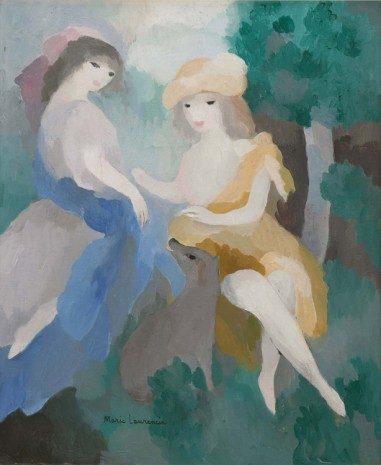 Marie Laurencin, Deux jeunes femmes au chien en forêt (Two Young Women with a Dog in the Forest), ca. 1925-1926 , Galerie Buchholz