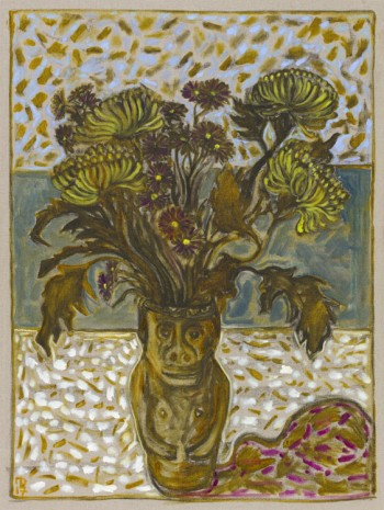 Billy Childish, chrysanthemums in June's pot, 2017 , Lehmann Maupin