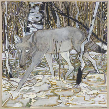 Billy Childish, wolf in birch trees, 2019 , Lehmann Maupin