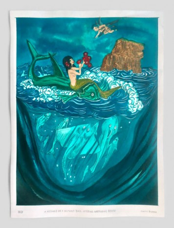 Marcel Dzama, A mermaid on dolphins back uttering harmonious breath, 2020, David Zwirner