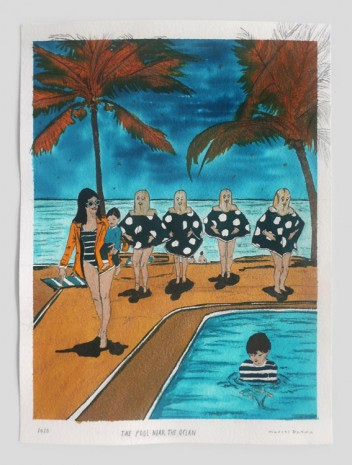 Marcel Dzama, The pool near the ocean, 2020, David Zwirner