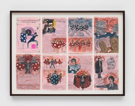 Marcel Dzama, Storyboard of the tension around which history is built (or Storyboard chapter 3 of a flower of evil), 2018 , Tim Van Laere Gallery