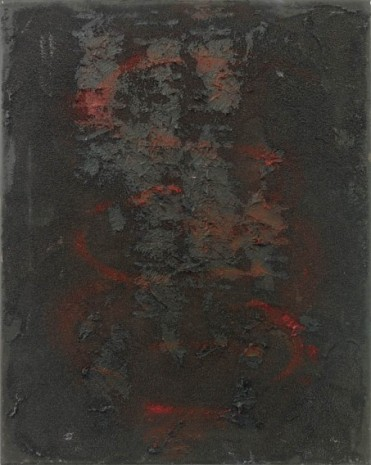 Henrik Olesen, intestine, black, red, vertical, 2020 , Galerie Buchholz