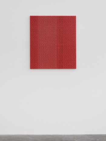 Heather Cook, Shadow Weave Fluorescent Red + Dark Green (12) 8/2 Cotton 20 EPI, 2020, Praz-Delavallade