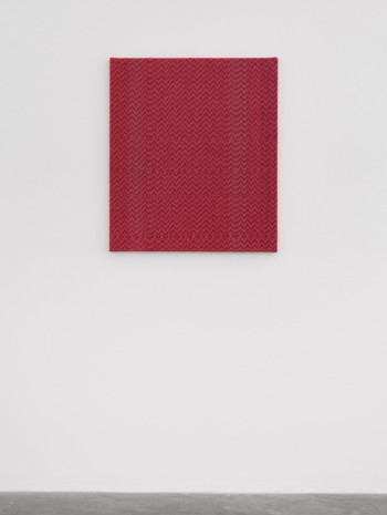 Heather Cook , Shadow Weave Fluorescent Red + Denim (5132) 8/2 Cotton 20 EPI, 2020, Praz-Delavallade