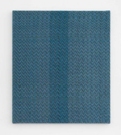 Heather Cook , Shadow Weave Fluorescent Blue + Dark Green (12) 8/2 Cotton 20 EPI, 2020, Praz-Delavallade
