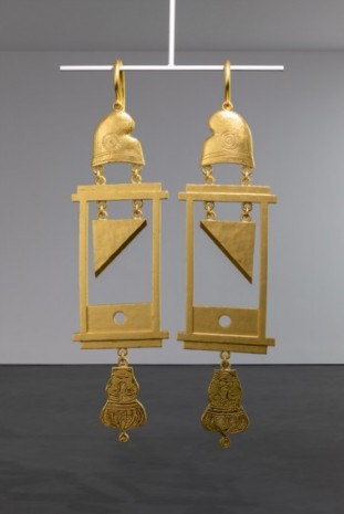 Simon Fujiwara , A Dramatically Enlarged Set of Golden Guillotine Earrings Depicting the Severed Heads of Marie Antoinette and King Louis XVI, 2019 , Esther Schipper