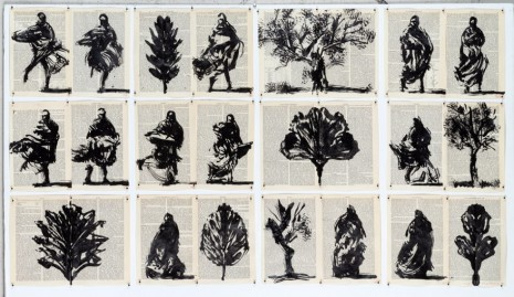 William Kentridge, Drawing for Waiting for the Sibyl (Trees and Spinning Figures), 2019 , Lia Rumma Gallery