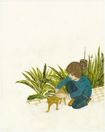 Marcel Dzama, My son petting a cat, 2018, David Zwirner