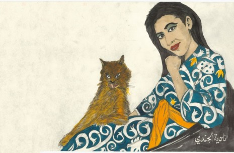 Marcel Dzama, Tangier cafe, actress with cat, 2018, David Zwirner