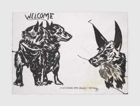 Raymond Pettibon, No Title (Welcome puyps n), 2020, Regen Projects