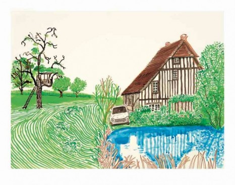 David Hockney, In Front of House Looking East, 2019, Galerie Lelong & Co.