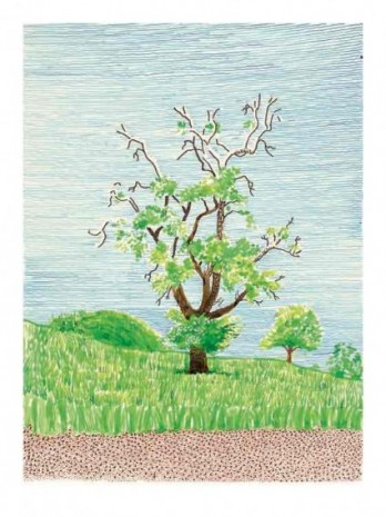 David Hockney, Hawthorn Bush in Front of a Very Old and Dying Pear Tree, 2019, Galerie Lelong & Co.