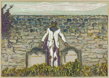 Billy Childish, Touching Two Gravestones, 2018, Lehmann Maupin