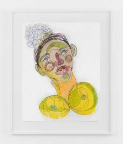 Tschabalala Self, Black Face with Yellow Breasts, 2020, Galerie Eva Presenhuber
