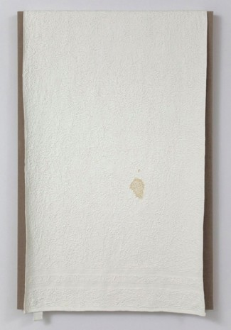 Analia Saban, Two Stripe Bath Towel with Tag and Stain, 2012, Tanya Bonakdar Gallery