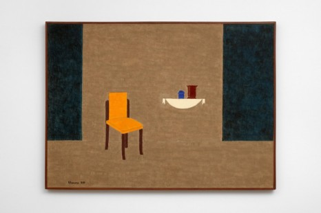 Eleonore Koch, Interior with yellow chair - blue, 1987, Modern Art