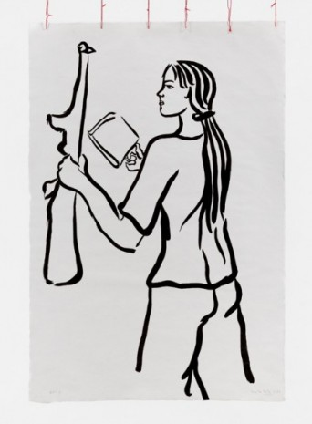 Cecilia Vicuña, Girl with Book and Gun, 1975-2021 , Lehmann Maupin