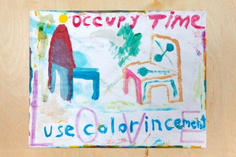 Chris Johanson, Occupy Time/Use Color In Cement (Drawing for Zoom Meeting Classroom Presentation #1 with Magic Added Later For Peaceful Intention Internal External Reiteration), 2020-21, The Modern Institute