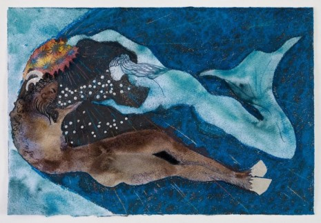 Chris Ofili , Crowning of a Satyr (Blue), 2021 , Victoria Miro