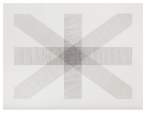 Sol LeWitt, Bands of Lines in Four Directions in Black and White, 1977, Marian Goodman Gallery