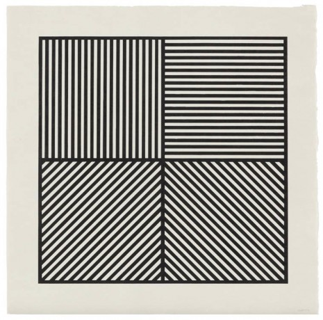 Sol LeWitt, A Square Divided Horizontally and Vertically Into Four Parts, Each With a Different Direction of Alternating Parallel Bands of Lines, 1982, Marian Goodman Gallery