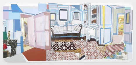Mickalene Thomas	   	, Interior: Monet's Blue Foyer, 2012, Lehmann Maupin