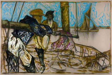 Billy Childish, Man and Woman Leaning on Boom (Oyster Catchers, Thames Estuary 1932), 2012, Lehmann Maupin