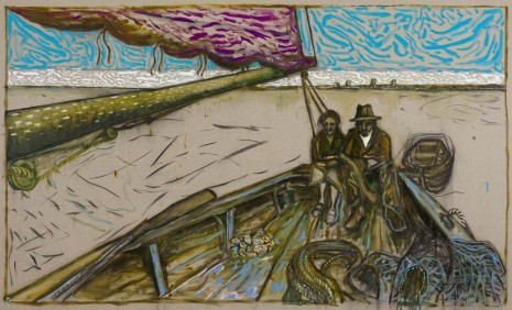 Billy Childish, Couple Seated in Stern (Oyster Catchers, Thames Estuary 1932), 2012, Lehmann Maupin