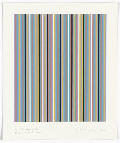 Bridget Riley, Blue Red Turquoise Yellow Black ,Beat', White Intervals, 1981, Galerie Max Hetzler