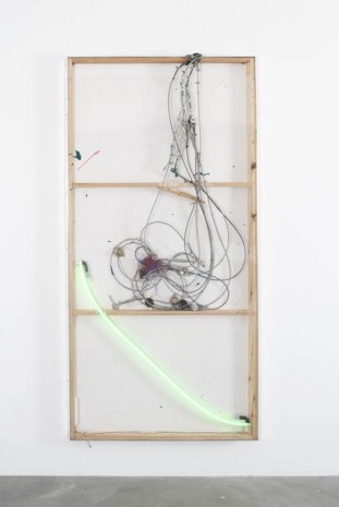 Joris Van de Moortel, Staalkabel and green neon light and various collectable objects, 2013, Galerie Nathalie Obadia