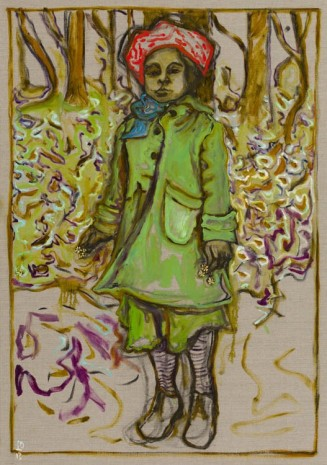 Billy Childish, Girl stood with flowers, 2013, Carl Freedman Gallery