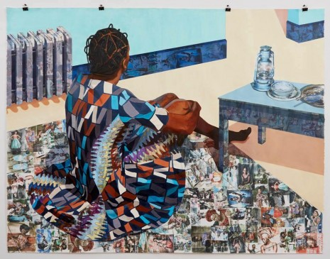 "Njideka Akunyili Crosby, ""The Beautyful Ones Are Not Yet Born"" Might Not Hold True For Much Longer, 2013, Marianne Boesky Gallery"