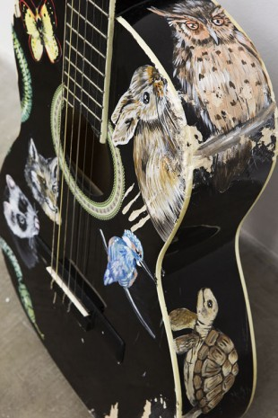 Olivier Millagou, Every Time I Kill An Animal With My Guitar It Appears Above (detail), 2014, Galerie Sultana