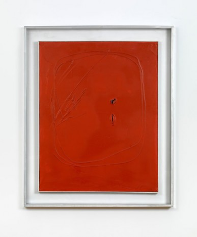Lucio Fontana, Concetto Spaziale 1+1-743Z Rouge Fonce, 1961, Max Wigram Gallery (closed)