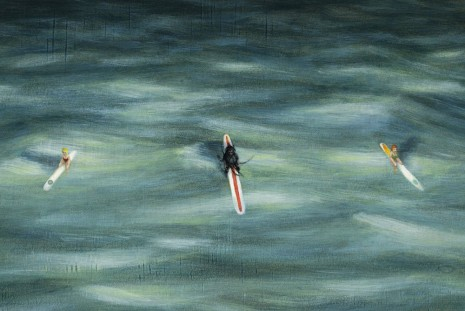Dan Attoe, Surfers in Moonlight(detail), 2013, Peres Projects