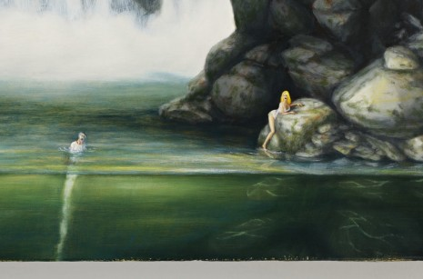 Dan Attoe, Couple and Waterfall(detail), 2013, Peres Projects