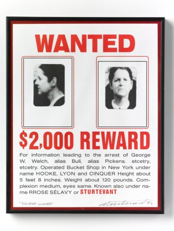 Sturtevant, Duchamp Wanted (1969) Corrected Ready-made, 1992, Galerie Thaddaeus Ropac