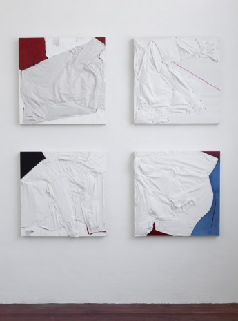 Tom Burr, Coming After (Self - Portarit in white, red and blue), 2014, Galleria Franco Noero