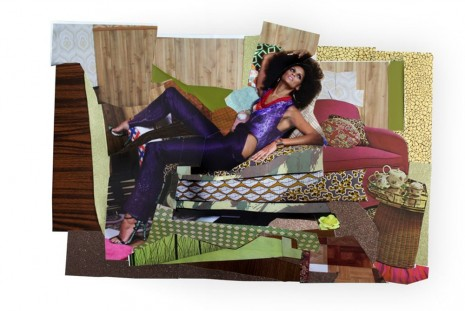 Mickalene Thomas, Racquel Reclined Wearing Purple Jumpsuit #1, 2014, Galerie Nathalie Obadia